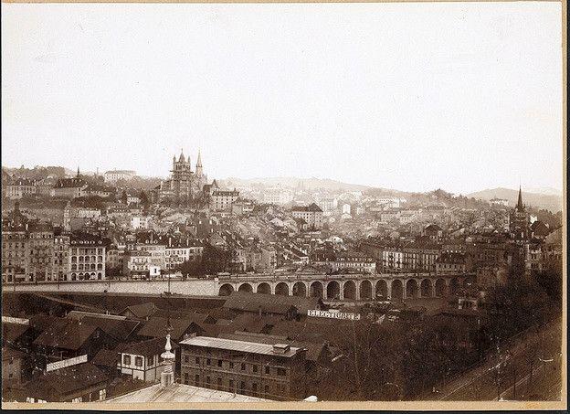 Lausanne 1898-1900 Vue sur l'actuelle place de l'Europe, depuis Montbenon