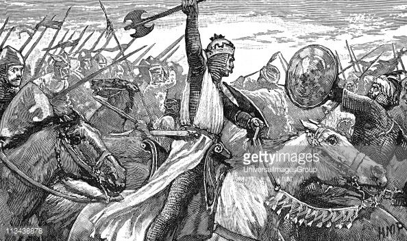 Charles Martel 'The Hammer' using a battle axe while repulsing the Moors at the Battle of Tours, near Poitiers, 732. King of Franks from 719. Grandfather of Charlemagne . Wood engraving 1892.