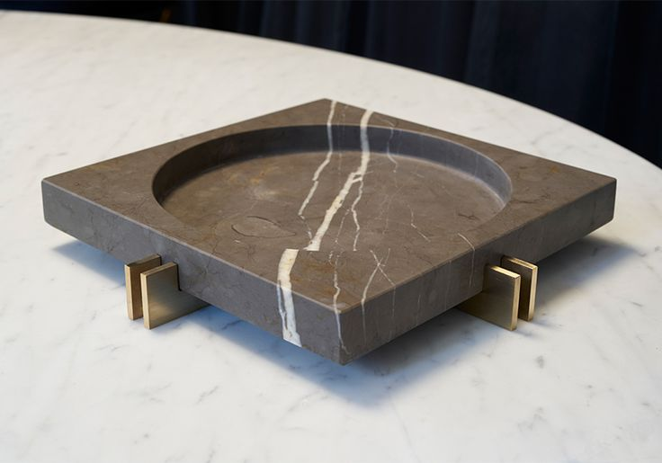 Parallel Bowl in Brass and Pietra Grey marble by Hava Studio.