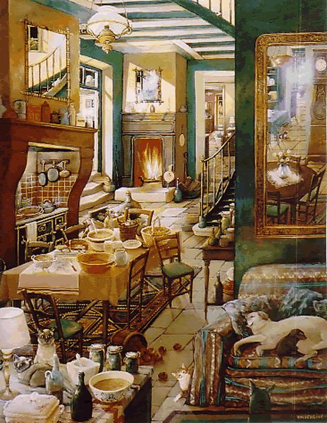 Monique Valdeneige French Artist Again another realistic home scene by this artist. Love it