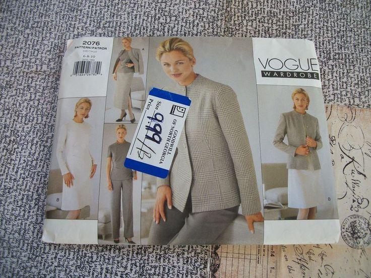 Vogue Wardrobe Pattern 2076 Misses Uncut Size 6-8-10 With Instructions. #VoguePatterns