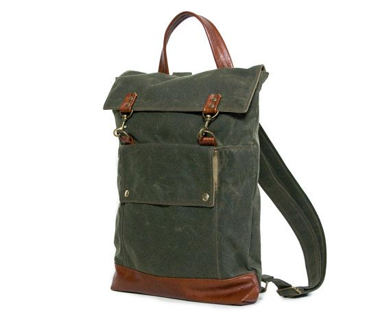 Backpack in Olive Green Waxed Canvas and Cognac por JennyNDesign
