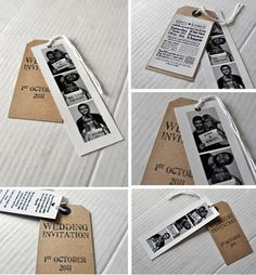 Photobooth and brown luggage tag wedding invitations and how you can make your own | The Natural Wedding Company