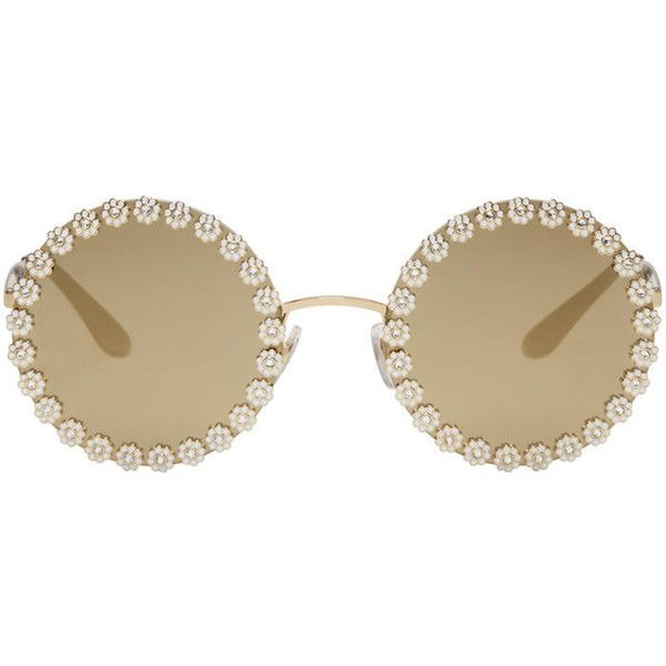 Dolce and Gabbana Gold Studded Daisy Sunglasses (13,235 MXN) ❤ liked on Polyvore featuring accessories, eyewear, sunglasses, gold, rounded glasses, rimless glasses, mirrored lens sunglasses, rounded sunglasses and round sunglasses