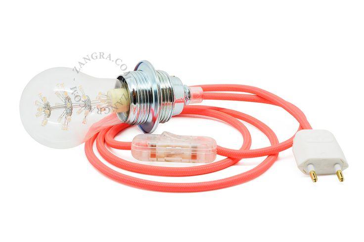 Suspension porcelaine avec prise, fil tressé, cable textile, baladeuse | Zangra.com