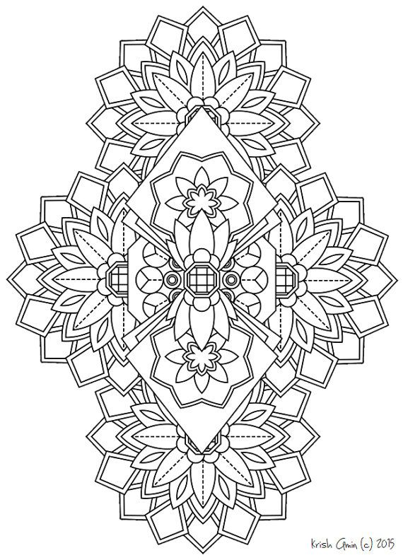 Mandala Adult Coloring Page From Zen Out Vol 1 Kids Book Doodling Doodle For Adults