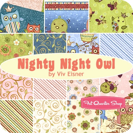 Nighty Night Owl Fat Quarter Bundle Viv Eisner for Wilmington Prints. www.fatquartershop.com