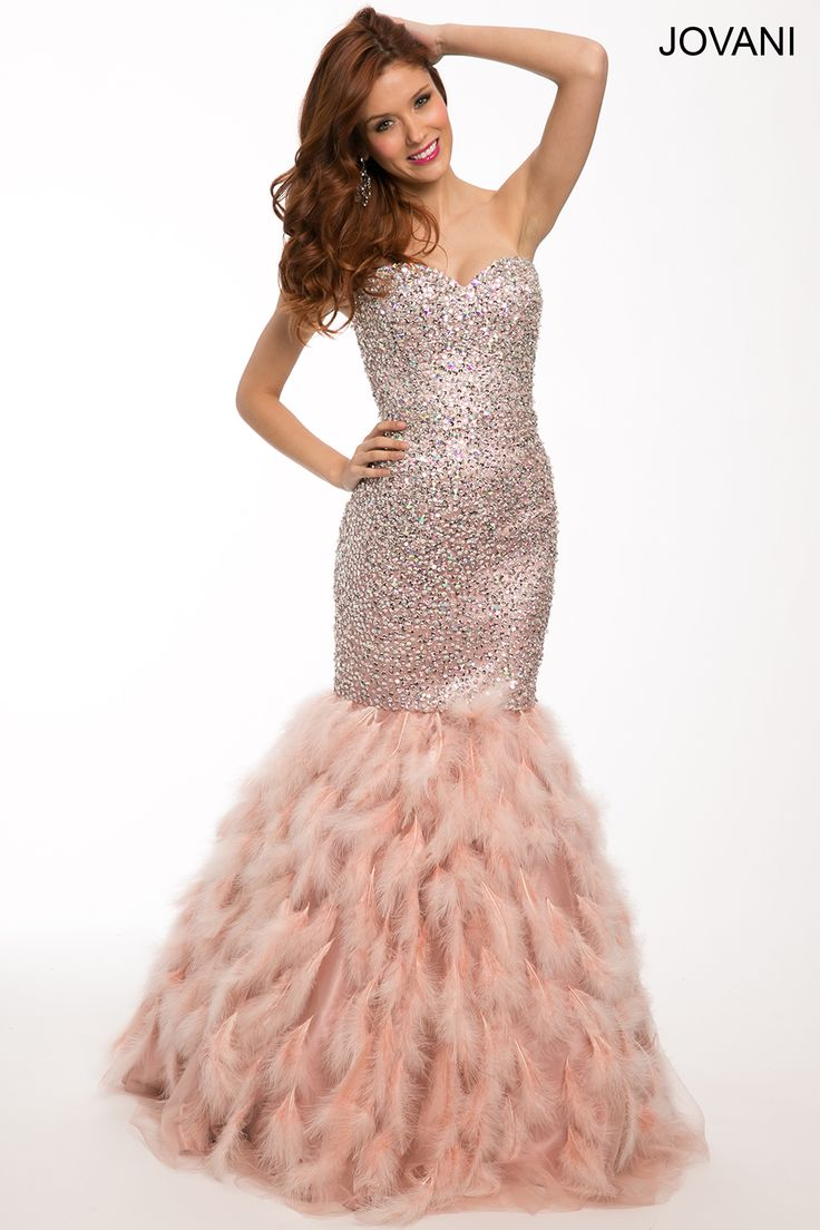 Pink Strapless Mermaid Dress By Jovani Style 92526 Prom
