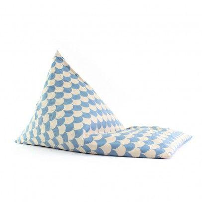 Pouf long en coton écailles Bleu Nobodinoz