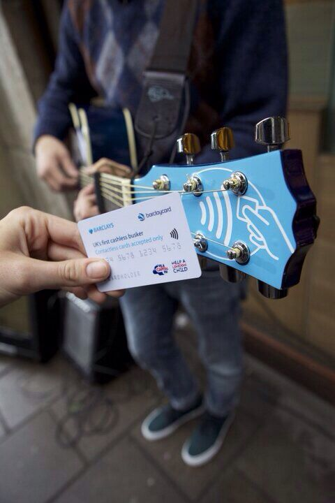 Contactless payment busker's guitar and amp for Barclaycard by Neil Barron from www.gusto.co.uk
