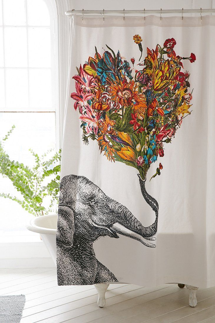 Octopus shower curtain cafe press - Rococcola Happy Elephant Shower Curtain