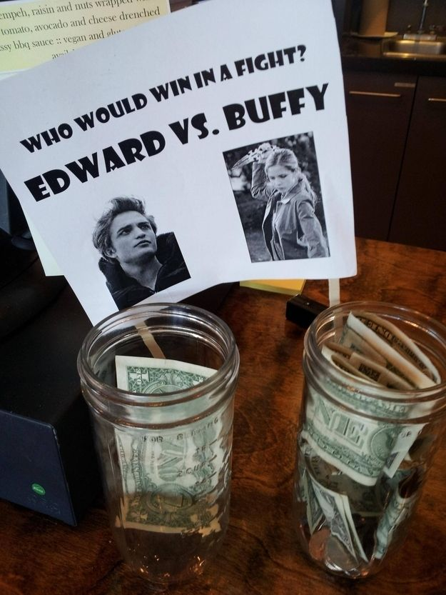 23 Sassy Tip Jars That Will Make You Smile | Buffy, obvs. #Buffy #Twilight