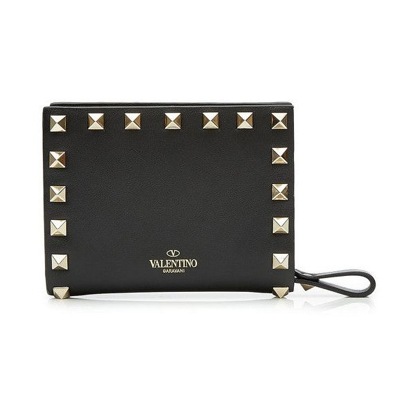 Valentino Rockstud Leather Flap French Wallet ($625) ❤ liked on Polyvore featuring bags, wallets, valentino bag, valentino wallet and leather flap bag