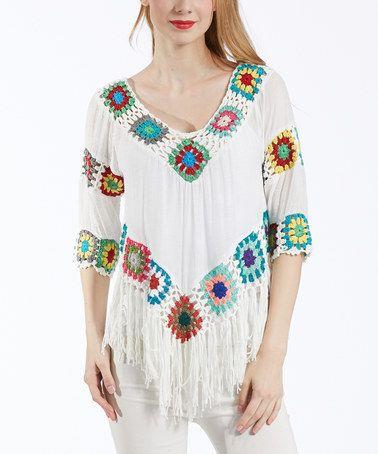 Look at this #zulilyfind! White Crochet-Accent Fringe-Trim Tunic #zulilyfinds