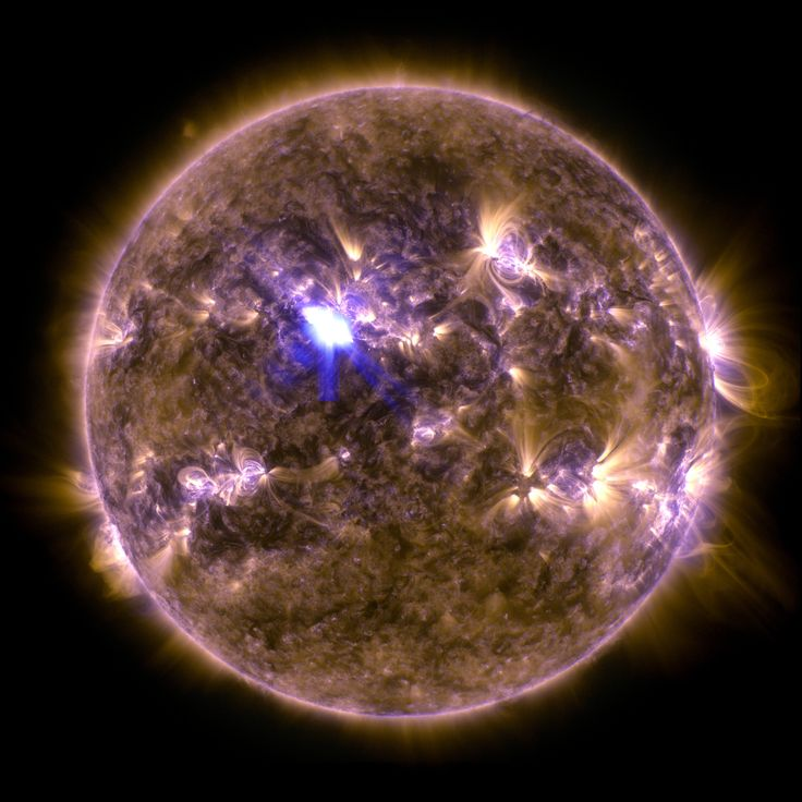 This week the Sun gave up its strongest solar flare so far in 2013, accompanied by a coronal mass ejection (CME) headed toward planet Earth. A false-color composite image in extreme ultraviolet light from the Solar Dynamics Observatory captures the moment, recorded on April 11 at 0711 UTC. The flash, a moderate, M6.5 class flare erupting from active region AR 11719, is near the center of the solar disk.
