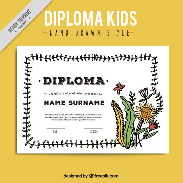 Diploma di bambini con impianti disegnati a mano Vettore Premium