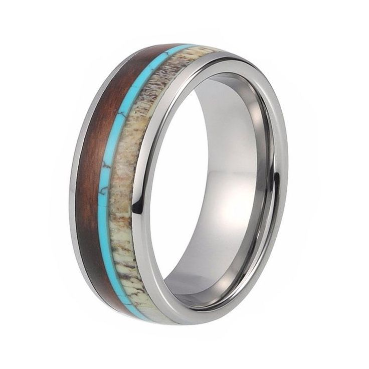 8mm Deer Antler Domed Wedding Ring with Koa Wood & Turquoise Inlay