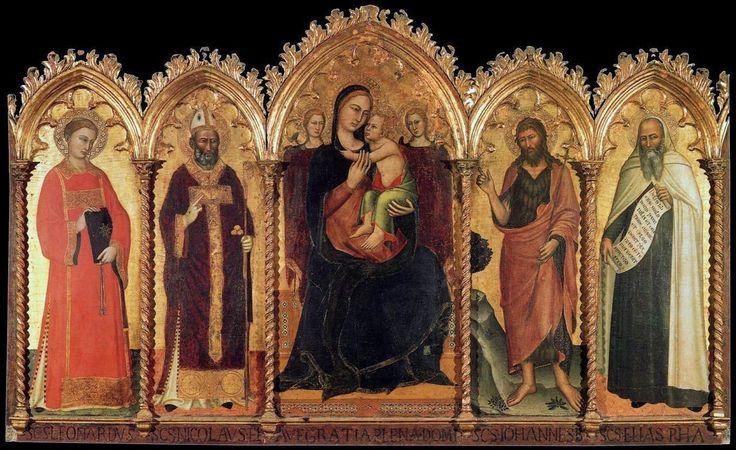 Andrea di Bonaiuto. Madonna and Child with Saints Santa Maria del Carmine, Florence 1360-62 (2) - Андреа Бонайути — Википедия. Мадонна с младенцем и святыми. 1360-1362. Церковь Санта Мария дель Кармине, Флоренция.