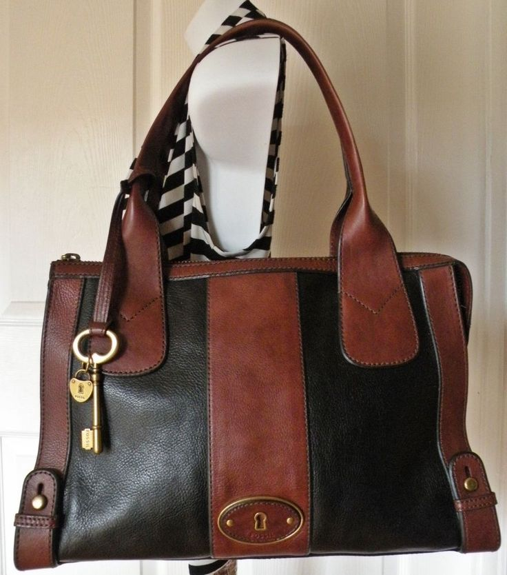 Fossil Large Black & Brown Leather Weekender Tote Shoulder Handbag Purse ~ EUC  #Fossil #TotesWeekender