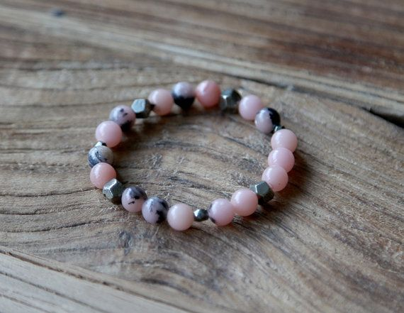 Pink opal and pyrite beaded stacking bracelet by Rosehip Jewelry