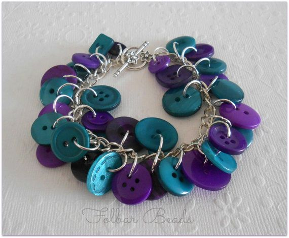 Button jewellery. Purple and teal button bracelet by FolbarBeads on Etsy, £10.00 https://www.etsy.com/uk/listing/123964193/purple-and-teal-button-bracelet?ref=v1_other_1