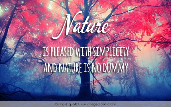 Nature is pleased with simplicity and nature is no dummy.  #dummy #nature #pleased #quotes #simplicity