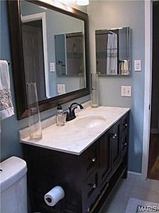 Bathroom In New House Has Old School But Awesome Dark Brown Cabinets W Lots Of Storage I Like The Brown Blue Look 54 Best Master Bath Images On Pinterest
