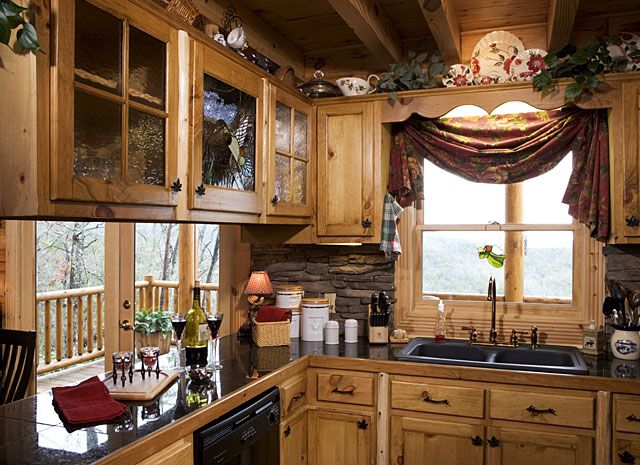 This kitchen is a bit busy with all the stuff everywhere for Log cabin kitchen backsplash ideas