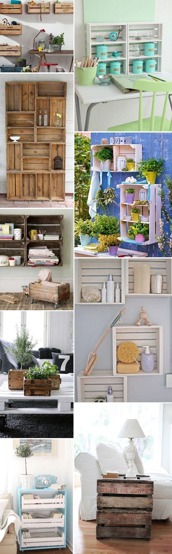 cassette della frutta diventano librerie, tavolini, scaffali.. read http://www.lifeandthecity.it/riciclo-creativo-le-cassette-della-frutta-diventano-librerie-tavolini-e-scaffali/