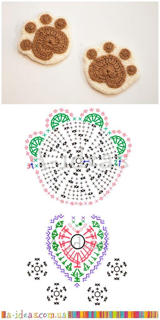 Crochetar Porta-Copos Patas Padrão Livre - / Crochet Hookscoasters Paws FREE Pattern -