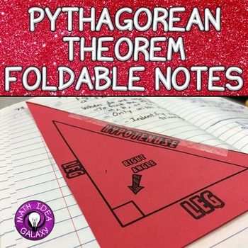 Pythagorean Theorem Foldable Notes is a basic foldable graphic organizer with a worked problem for Pythagorean Theorem. Designed with the interactive notebook in mind. Supports 8.G.B.6