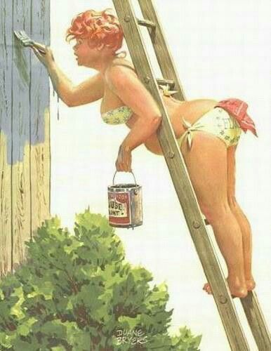 Hilda pin up ladder painting