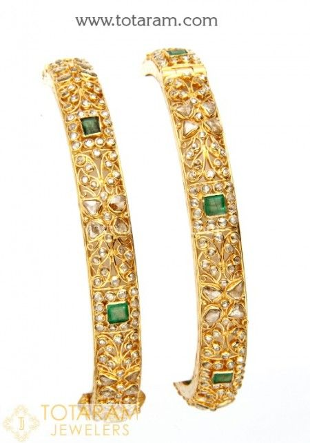 22K Uncut Diamond Bangles - View our collection of 22 Karat gold Uncut Diamond Bangles for women. We carry a large variety of gold Uncut Diamond Bangles made in India