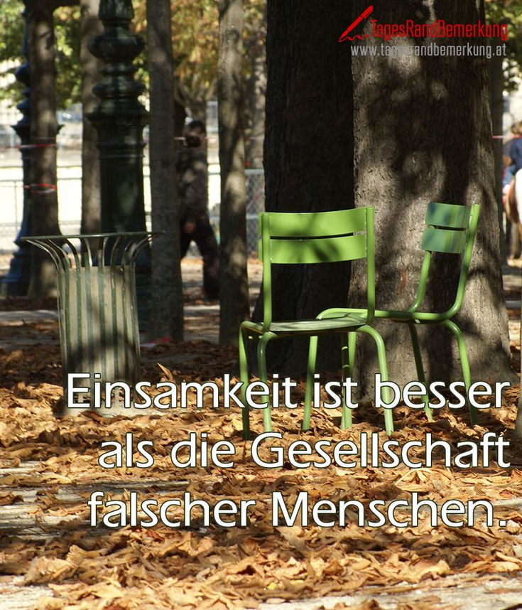 Das #Zitat zum Tag von der #TagesRandBemerkung: Einsamkeit ist immer noch besser, als die Gesellschaft falscher Menschen., zum Thema Freundschaft, Gesellschaft