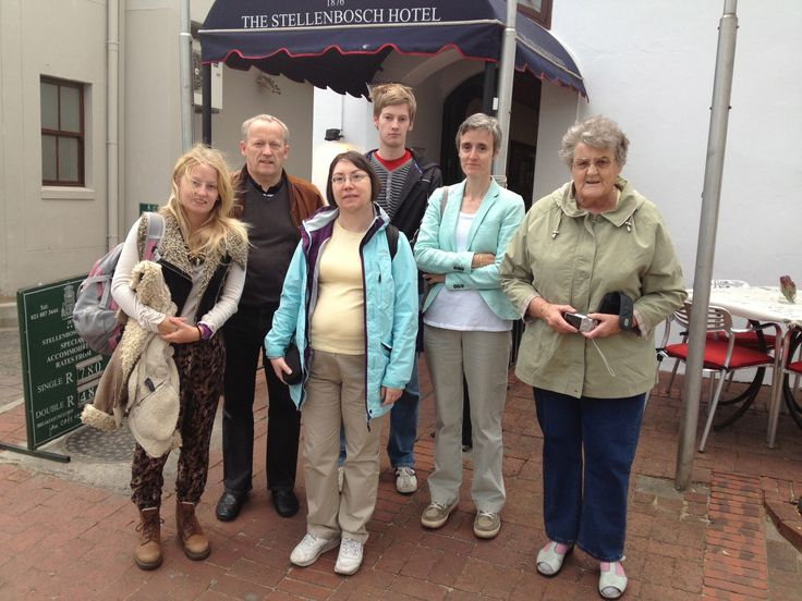 The group of 6 - from left to right Ellen, myself, Mandy, Michael, Bridget and Margaret outside the Stellenbosch Hotel - before Eugene took us to the airport for our flight to Upington. (11/8/13).