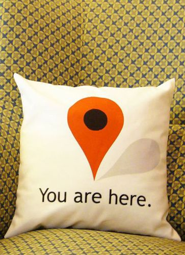 You Are Here Pillow // just in case you forgot where you were while at home on your couch... Haha! #designwithhumour