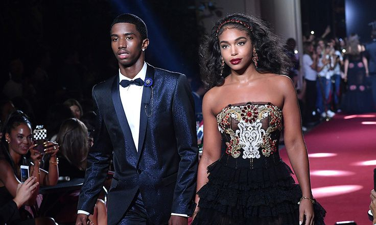 Sean 'P Diddy' Combs' son Christian Combs and Steve Harvey's daughter Lori Harvey together on the Dolce & Gabbana secret show catwalk.
