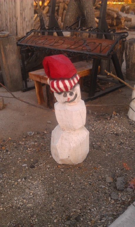 Chainsaw carved snowman carving pinterest