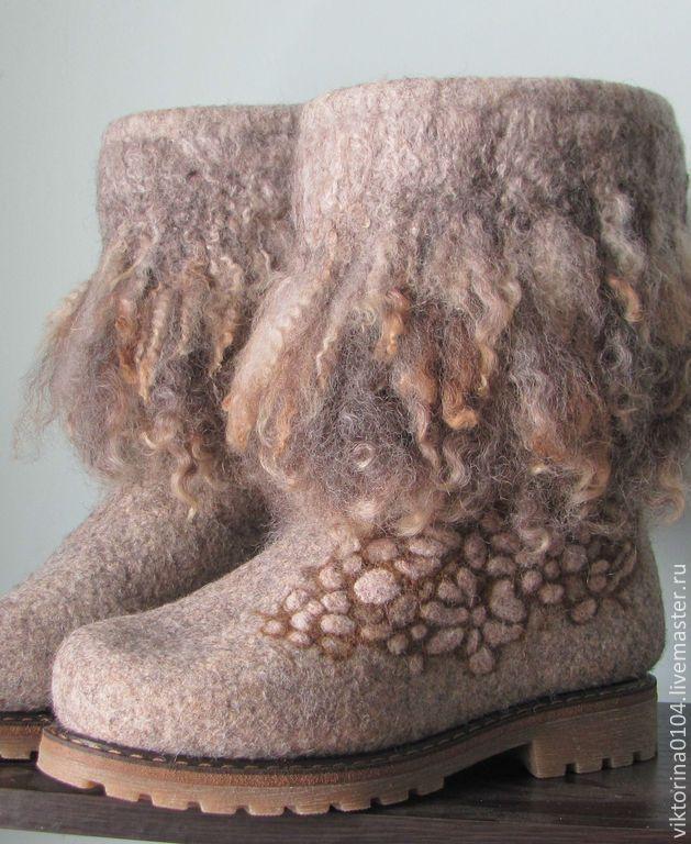 """Купить Валенки """"Релакс 2"""" - бежевый, валенки, обувь ручной работы, теплая обувь, эко"""