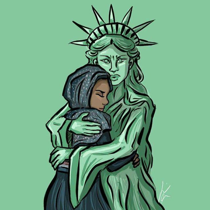 Lady Liberty hugging a Muslim refugee woman. #NoMuslimBan #diversity