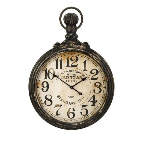 "Imax Home 27664 Churchill 39"" x 27.5"" Wall Clock, Grey metal"