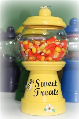 Bee themed candy dish using clay pot & saucers