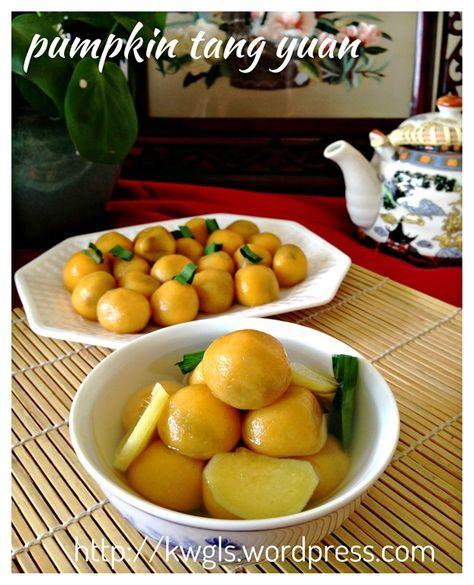 Pumpkin Glutinous Rice Balls aka Pumpkin Tangyuan (南瓜汤圆) Winter solstice 2014 is 10 days away, possibly you would like to try another type of tangyuan? Adding pumpkin will enhance the look, texture and aroma of the plain tangyuan. #guaishushu #Kenneth_goh #pumpkin_tangyuan #南瓜汤圆