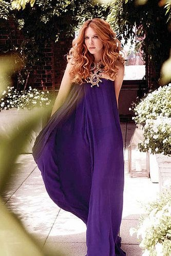 Rachelle Lefevre - love her hair and that purple looks amazing on her.