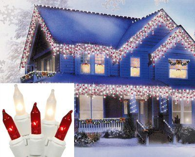 Set of 100 Candy Cane Red and Clear Frosted Mini Icicle Christmas Lights  White Wire *** Read more  at the image link.
