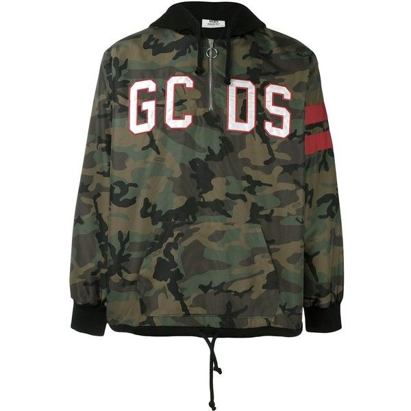Gcds Camouflage Jacket With Logo (£160) ❤ liked on Polyvore featuring men's fashion, men's clothing, army green and gcds