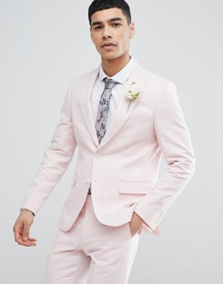 406e99a39e Moss London Wedding Skinny Suit Jacket In Light Pink Linen in 2019 ...