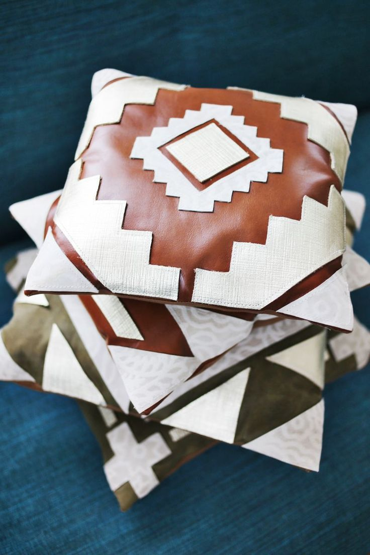 homemade leather pillows via A Beautiful Mess