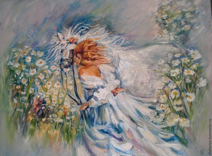 Купить Картина маслом светлые оттенки девушка с лошадью Любимый друг - голубой