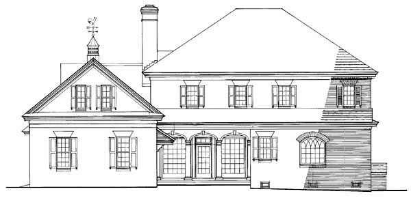 Rear Elevation of Colonial   Plantation   Southern   House Plan 86242